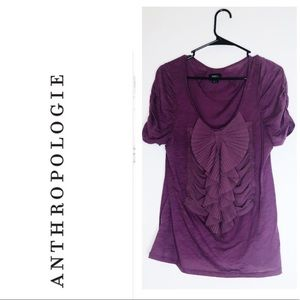 ANTHRO DELETTA Dark Purple Short Sleeved Blouse